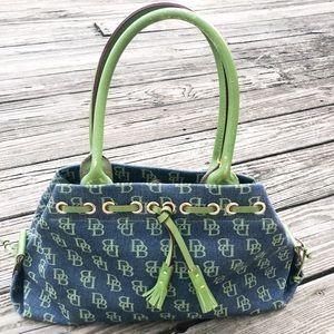 Dooney & Bourke Denim Jacquard Logo Handbag Purse